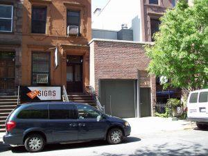American street with modest garage door